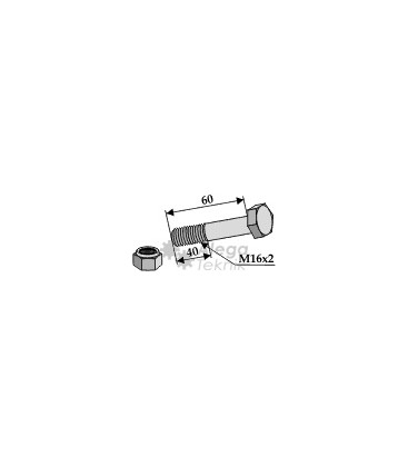 Bult med låsmutter M16x2-10.9 Kuhn Vogel u. Noot Claas Ferri Nobili