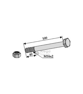 Bult med låsmutter M16x2-10.9 Maletti Kverneland M.E.A.A.T. Ferri