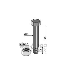 Bult med låsmutter M14x1,5 10.9 96mm