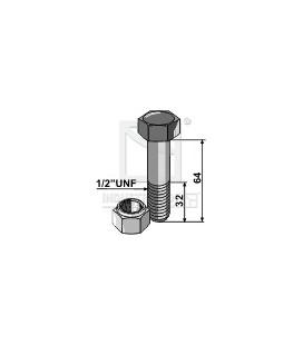 """Bult med låsmutter Epok 1/2"""" UNF 8.8 L64mm"""