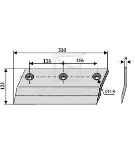 Sidkniv för ensilage urtagare Redrock 310mm vänster