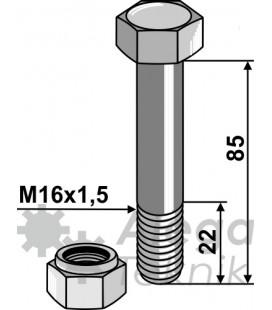 Bult med självlåsande mutter M16x1,5-10.9