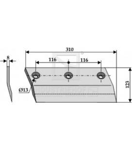 Sidkniv för ensilage urtagare Redrock 310mm höger